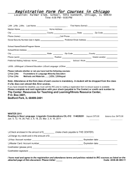 Registration Form for Courses in Chicago - The Center