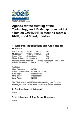 Agenda for the Meeting of the Technology for Life