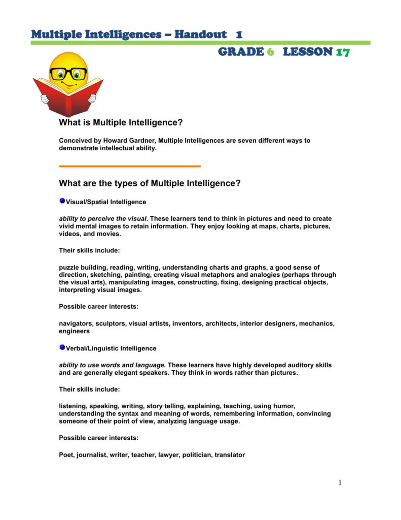 Multiple intelligences handout 1 grade 6 lesson 17 what is nvjuhfo Choice Image
