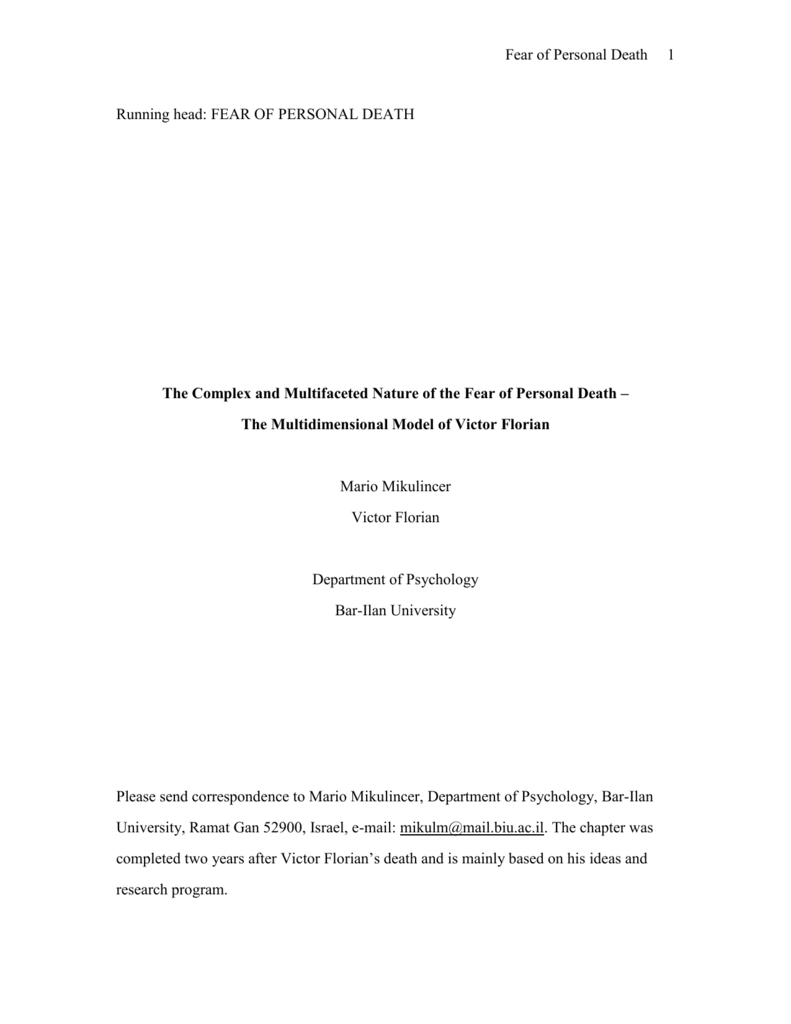 research paper on fear of death