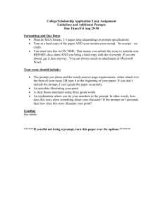 College Application Essay Assignment