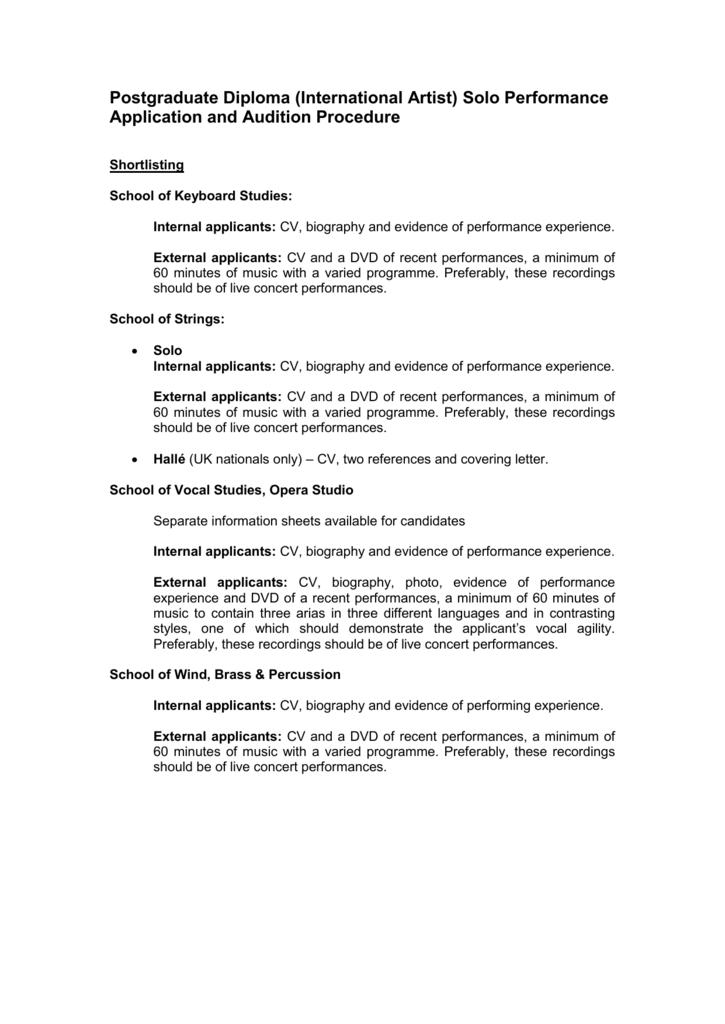 International Artist Application And Audition Procedure