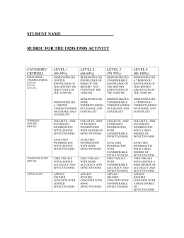 rubric for the 1920s/1930s activity