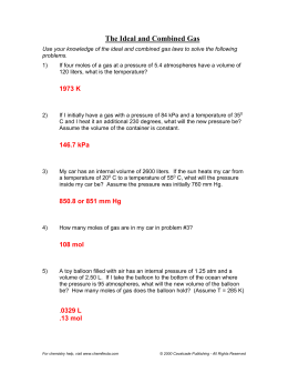UNIT 7: Gas Laws Review Sheet