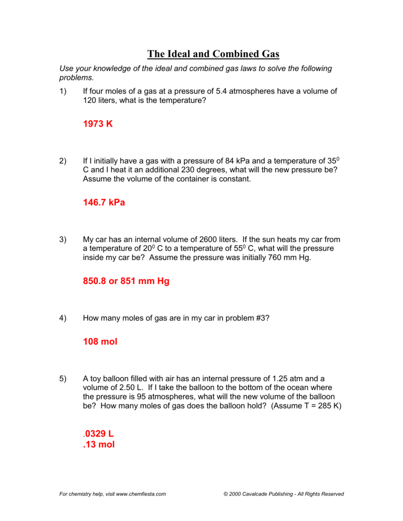 Ideal Gas Law Worksheet PV = nRT