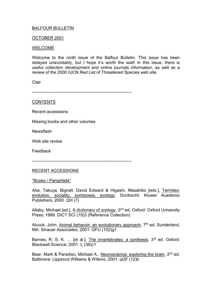 Balfour Bulletin Department Of Zoology