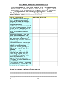 Observation of Primary MFL lesson checklist