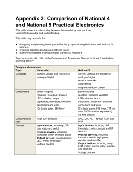 Comparison of National 4 and National 5 Practical Electronics