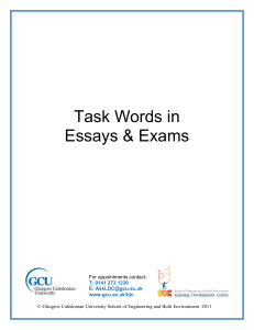 Task words in Essays and Exams - Glasgow Caledonian University