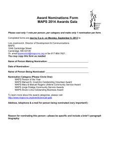 Award Nominations Form MAPS 2014 Awards Gala Please cast only