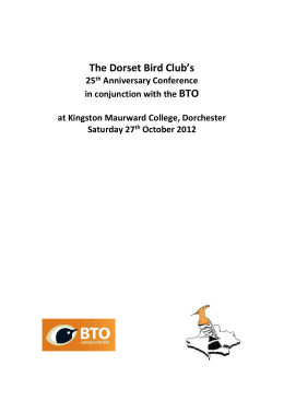 Speakers info: - Dorset Bird Club