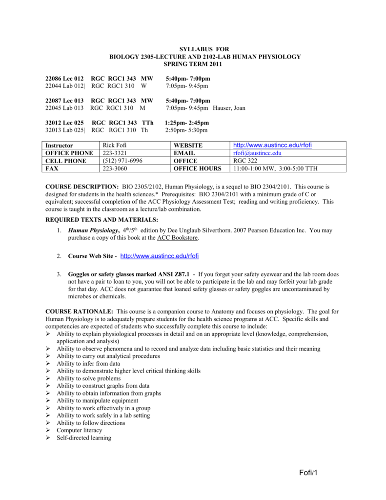 Syllabus For Biology 1724 Lecture And Lab