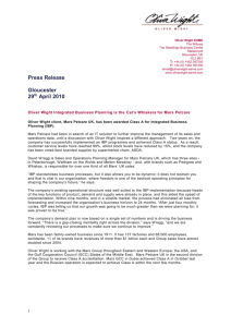 Press Release - Oliver Wight EAME LLP