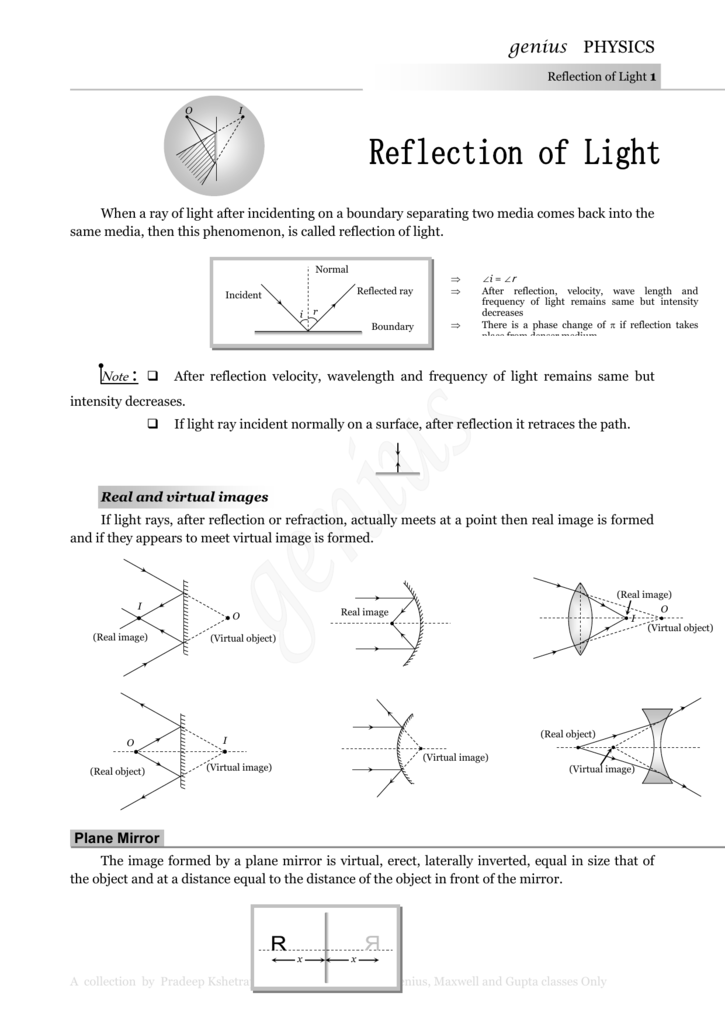 Ray Optics Pradeep Kshetrapal Physics