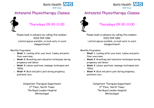 Antenatal physiotherapy classes - flyer