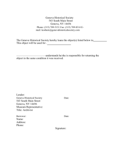 Geneva Historical Society Outgoing Loan Agreement