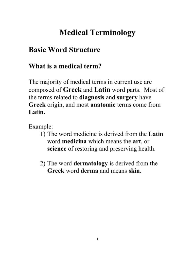 Medical term origin