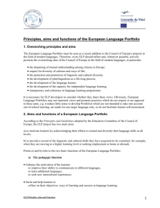 Principles, aims and functions of the European Language Portfolio