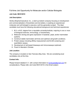 Full-time Job Opportunity for Molecular and/or Cellular - CBA-the
