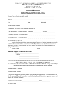 Direct Deposit Signup Sheet - Moravian Church Southern Province