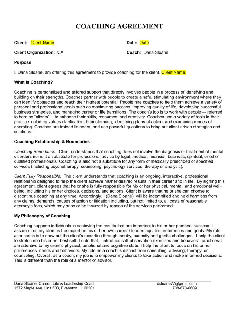 Coaching Agreement Form Erkalnathandedecker