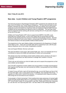 CYP IAPT new sites press release July 13