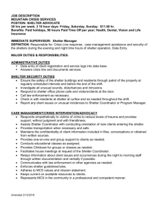 Shelter Manager - Mountain Crisis Services