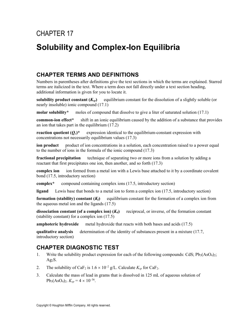 17.6 Complex Ions and Solubility