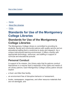 Standards for Use of the Montgomery College Libraries