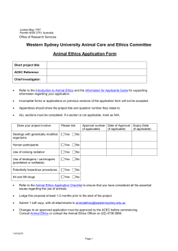 Animal Ethics Application form