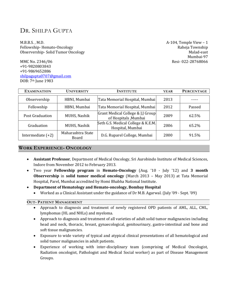 Work Experience- Oncology