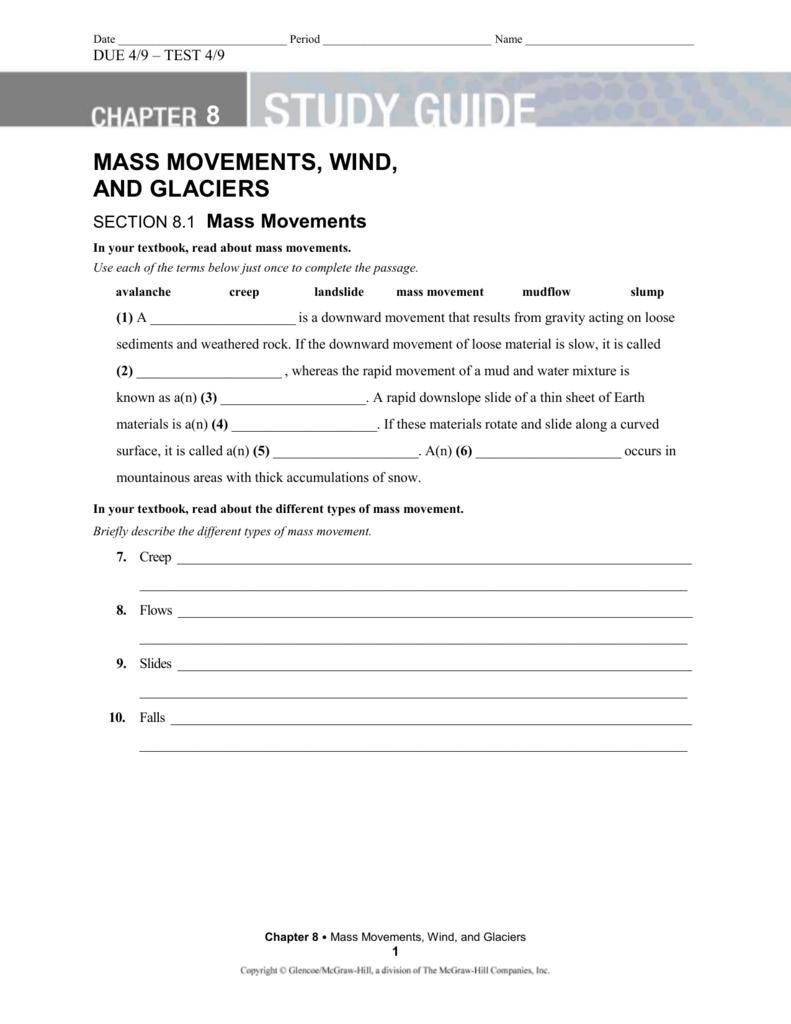 worksheet Mass Movement Worksheet chp 8 study guide mass movements