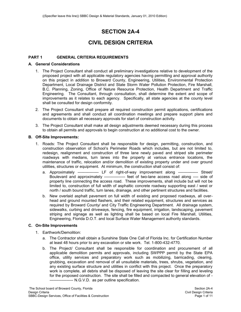 Civil Engineering Site Design Criteria