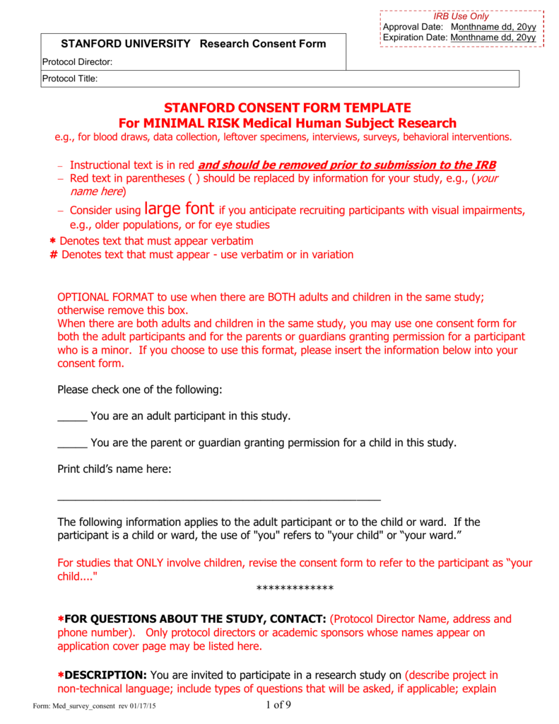 Sample Consent Form Human Subjects