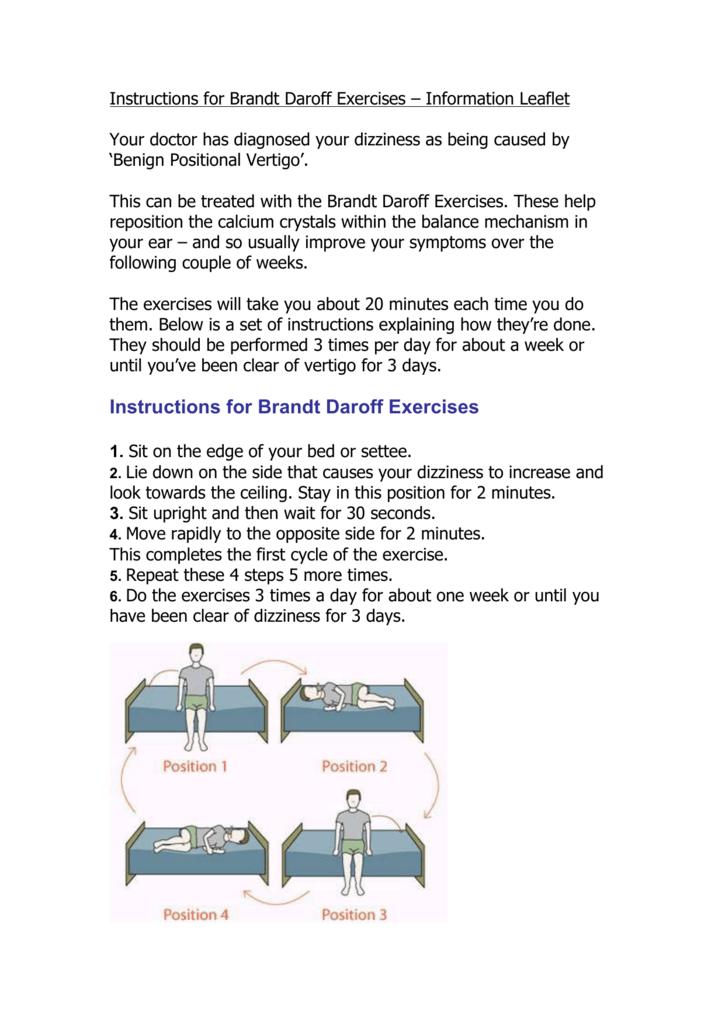 instructions for brandt daroff exercises  u2013 information leaflet
