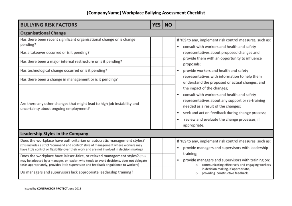 201308-Template-Workplace-Bullying-Assessment-Checklist