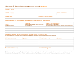 Site-specific hazard assessment and control (template)
