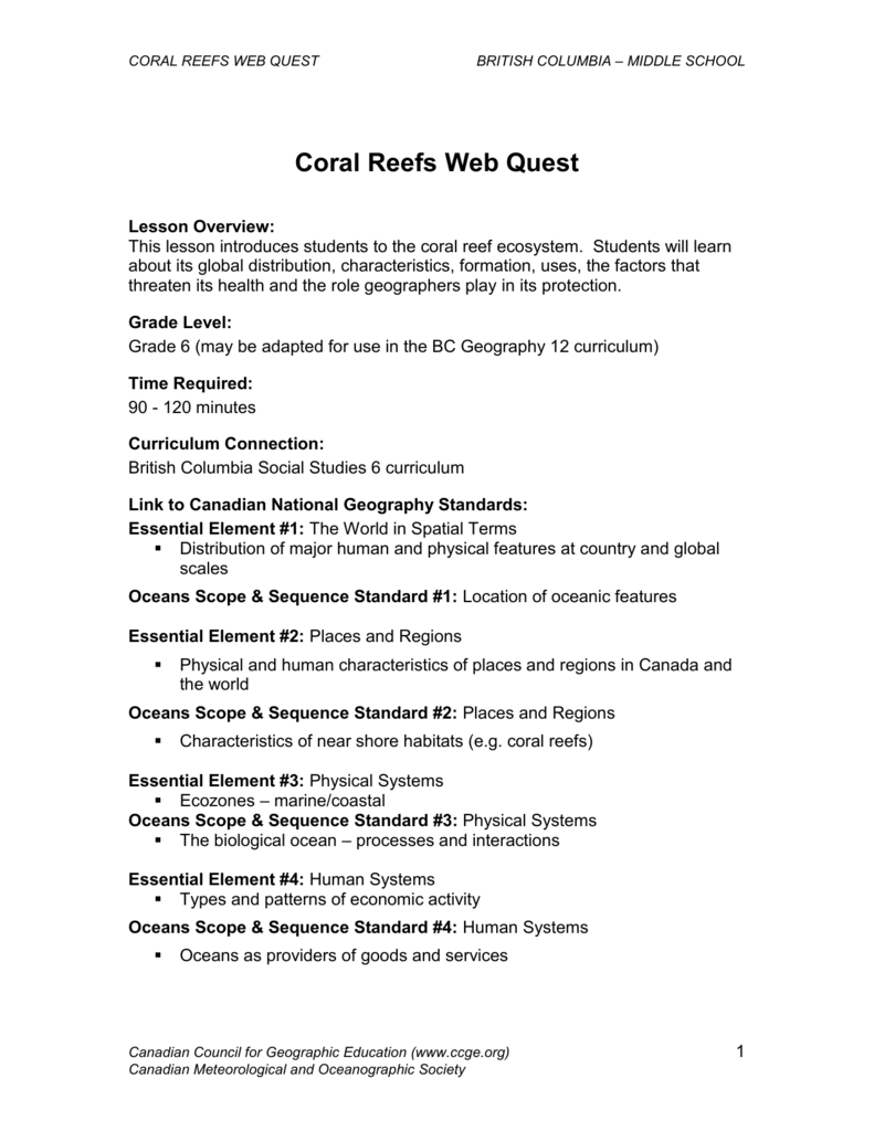 Coral Reefs Web Quest - Canadian Geographic Education