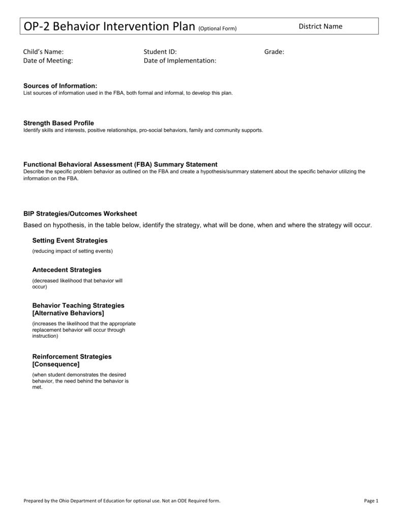 Form Op 2 Behavior Intervention Plan
