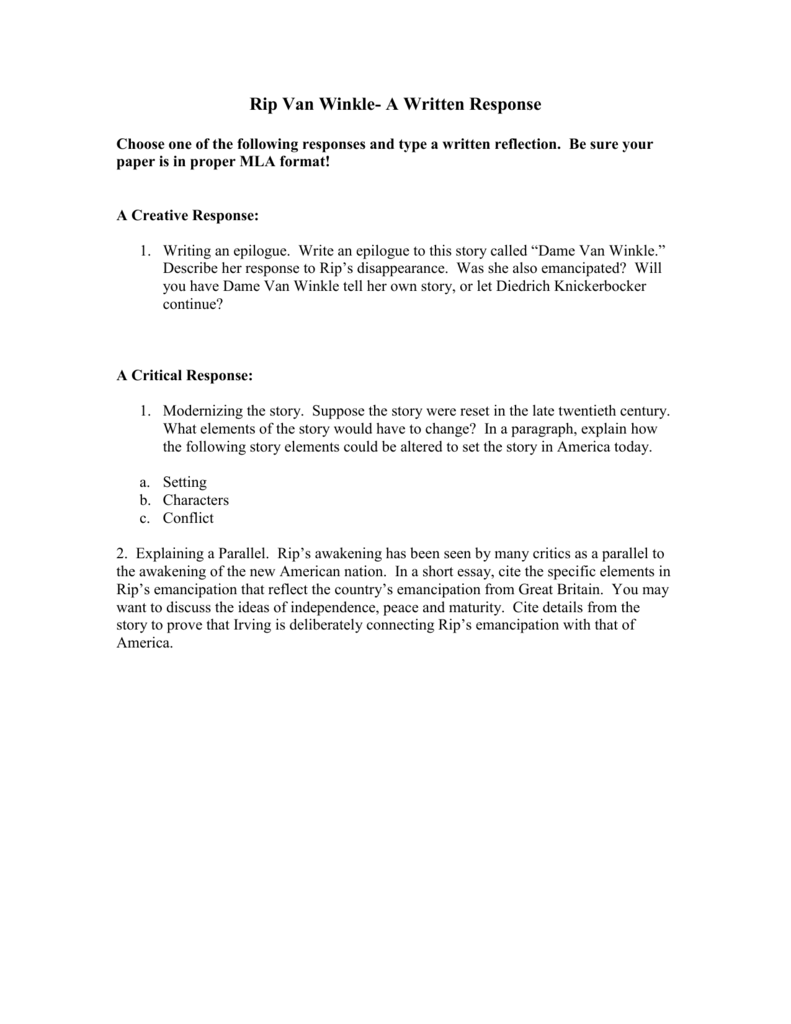 proper essay format mla style page format apa style research rip van winkle critical response essay