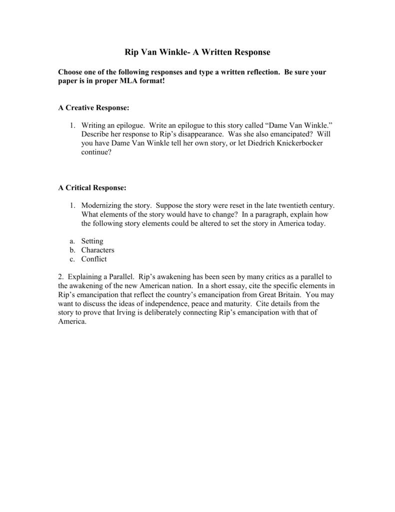 rip van winkle critical response essay format proper essay format
