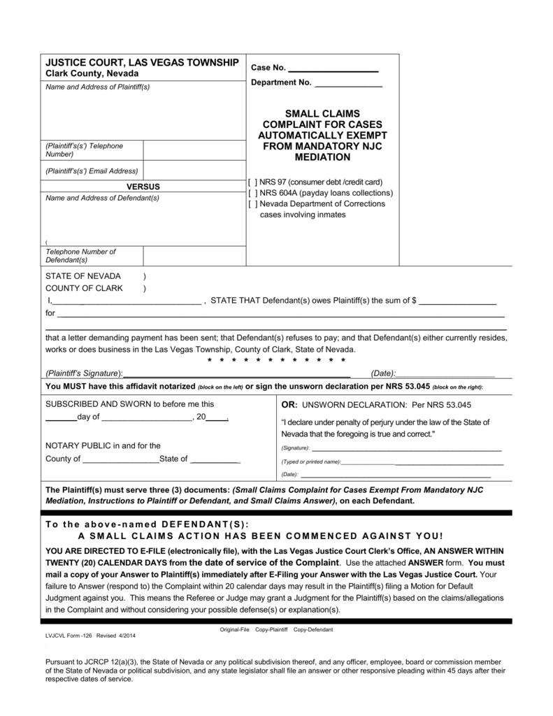 Las Vegas Justice Court >> Justice Court Las Vegas Township Case No