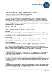 Code of Conduct for trustees and committee