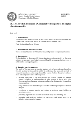 SK1135, Swedish Politics in a Comparative Perspective, 15