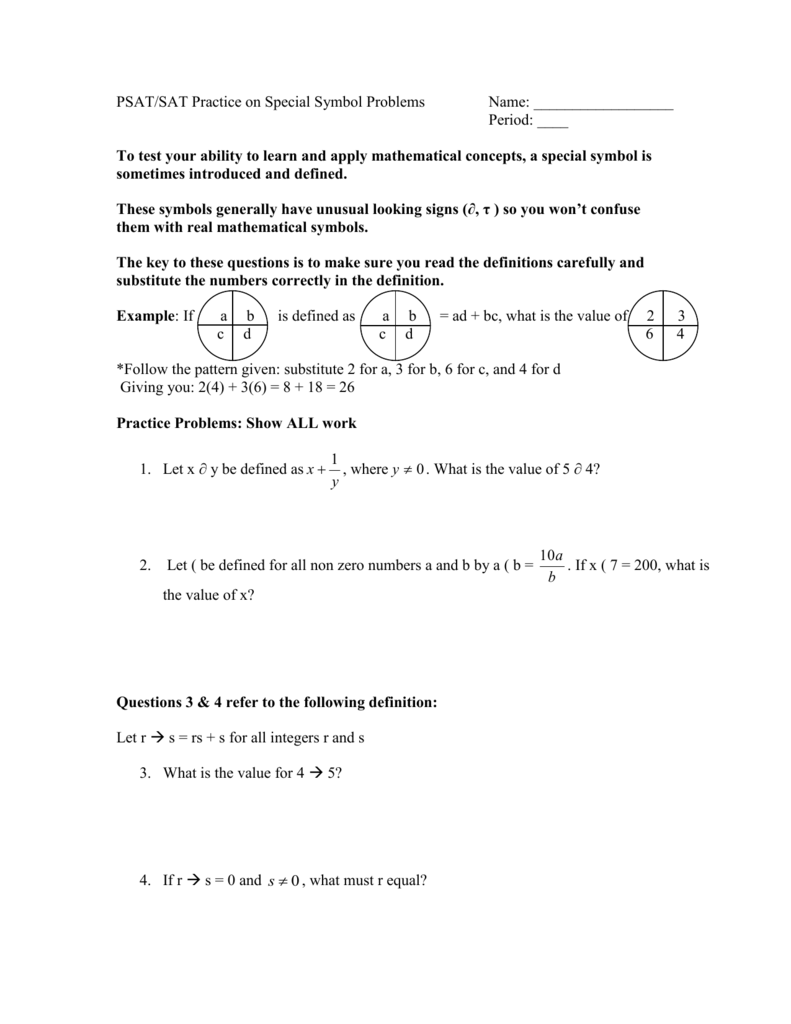 PSAT/SAT Practice on Special Symbol Problems