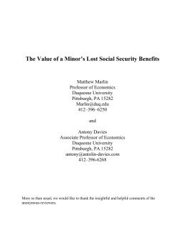 The value of a minor`s lost social security benefits