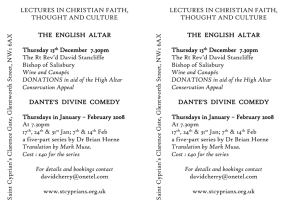 LECTURES IN CHRISTIAN FAITH, THOUGHT AND CULTURE