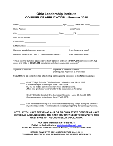 Counselor Application Page ONE