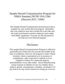 CHEMICAL SAFETY COMPLIANCE CHECKLIST - Osha hazard communication program template