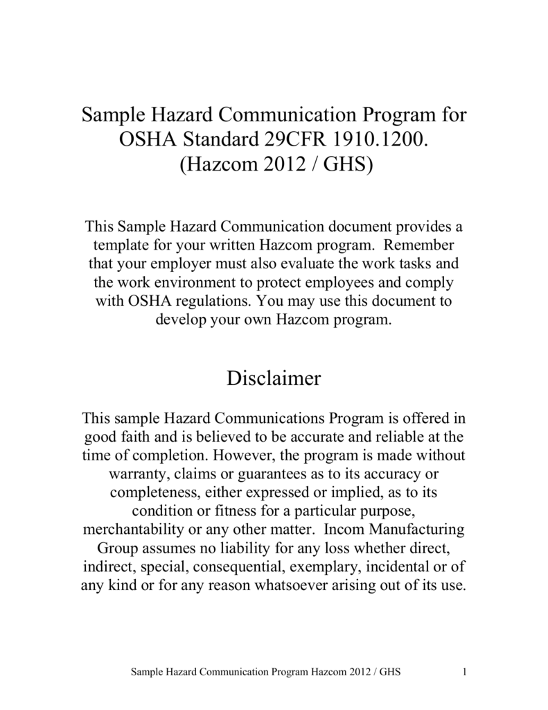 sample hazard communication program for